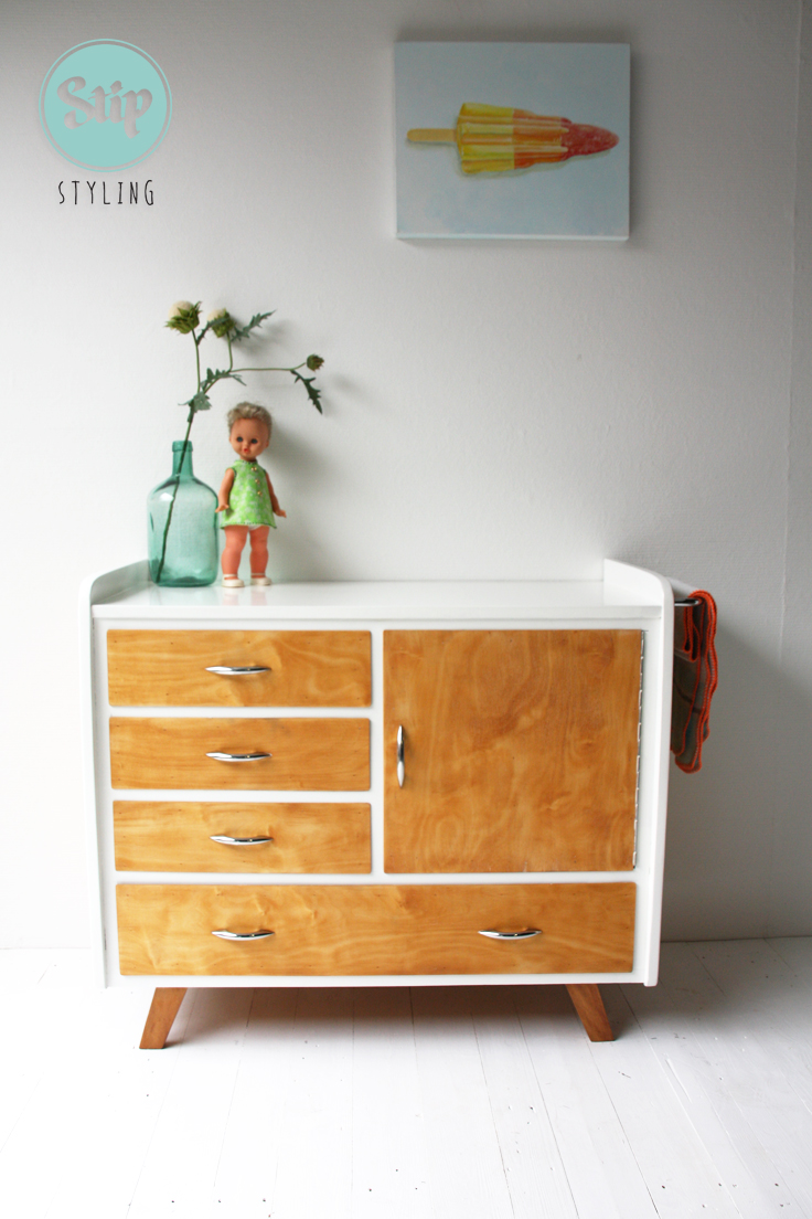 Vintage Commode Wit Met Hout Stip Stylingstip Styling