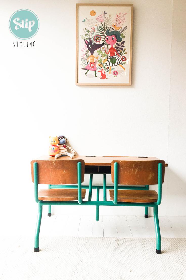 Schoolbankje Met Stoeltje.Vintage Schoolbank Lessenaar Met Groenblauw Frame 031705